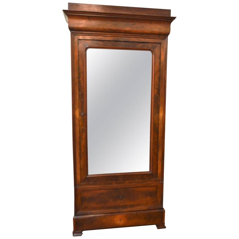 Louis Philippe Period One Door Armoire For Sale