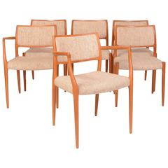 Set of Six J.L. Møller Model 80 Dining Chairs by Niels Otto Møller