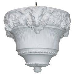 White Plaster Hanging Light or Planter