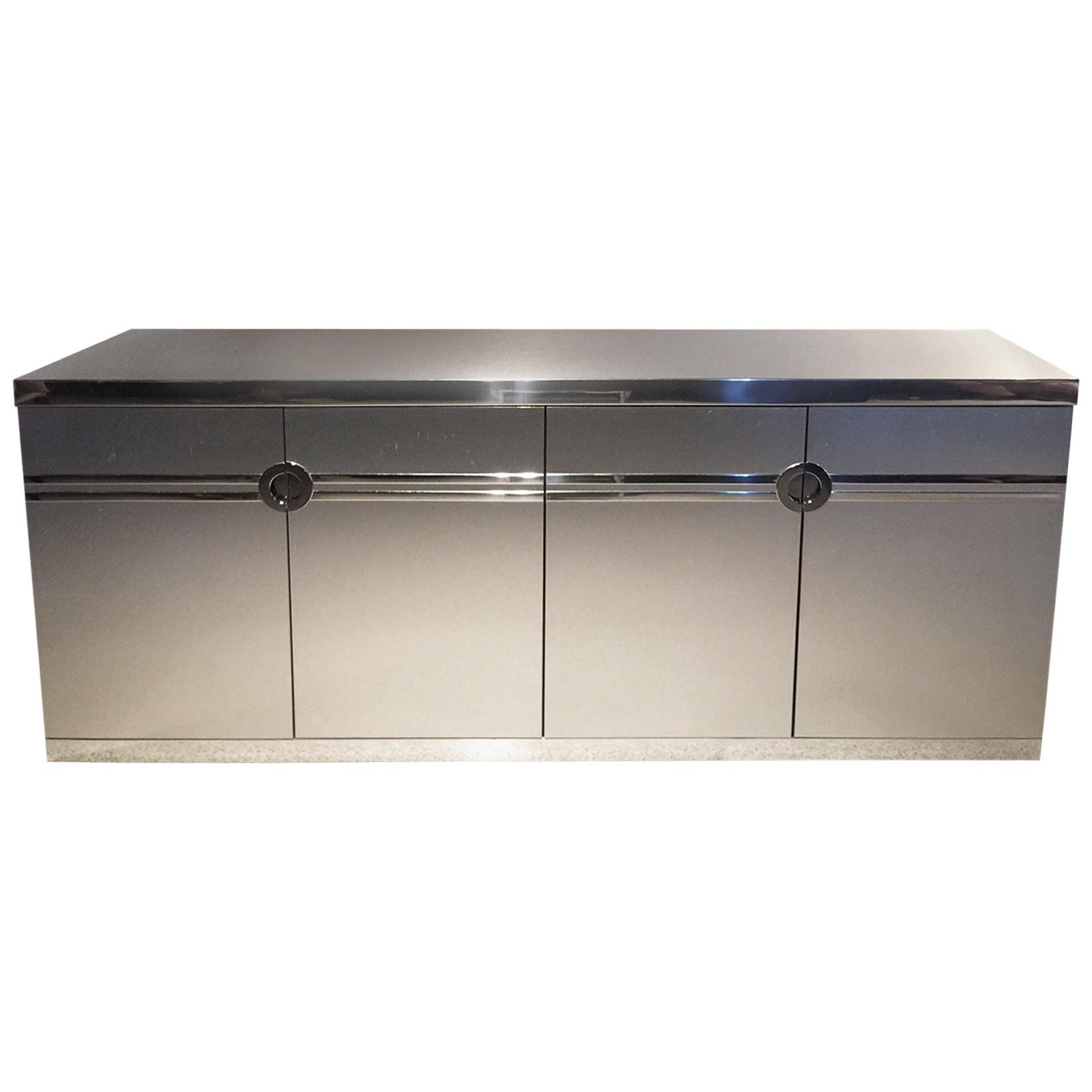 Pierre Cardin Brushed Laminated Aluminum Sideboard, Signed