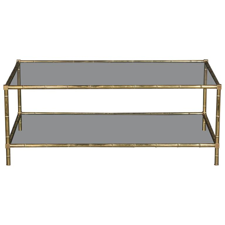 Faux Bamboo Brass And Glass Cocktail Table For Sale At 1stdibs