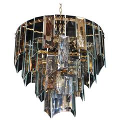 Beautiful 1970 Glass and Mirror Light by Luminaire