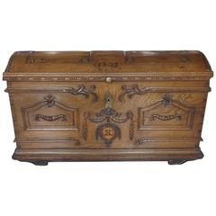 Flemish Carved Oak Chest with Wrought Iron Handles, Dated 1803