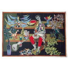 1950s Midcentury French Cubist Tapestry by Robert Debieve