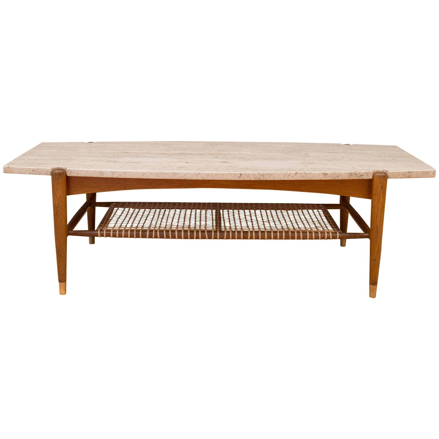Dux Travertine Coffee Table Attributed To Bruno Mathsson At 1stdibs