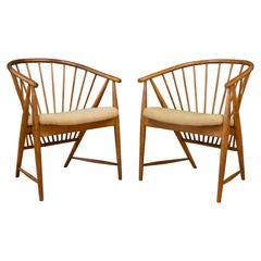 """Pair of Sonna Rosen """"Sun Feather"""" Chairs for Nassjo Stolfabrik Sweden"""