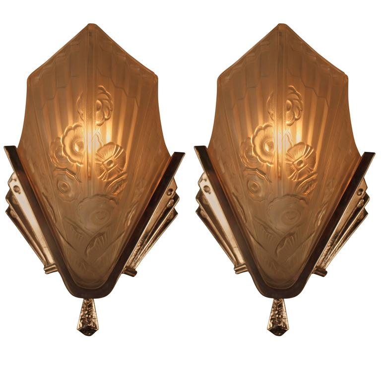 Wall Sconces Deco : Pair of French Art Deco Wall Sconces For Sale at 1stdibs