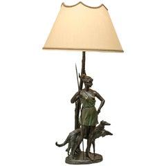 Art Deco Bronze Lamp, Artist Signed Zach