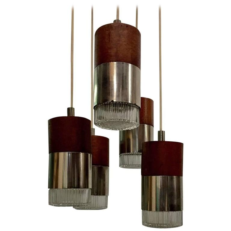 Chrome and Faceted Glass Five-Pendant Light Fixture For Sale
