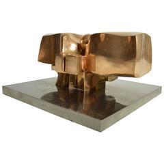 Midcentury Solid Bronze Abstract Sculpture by Jose Luis Sanchez