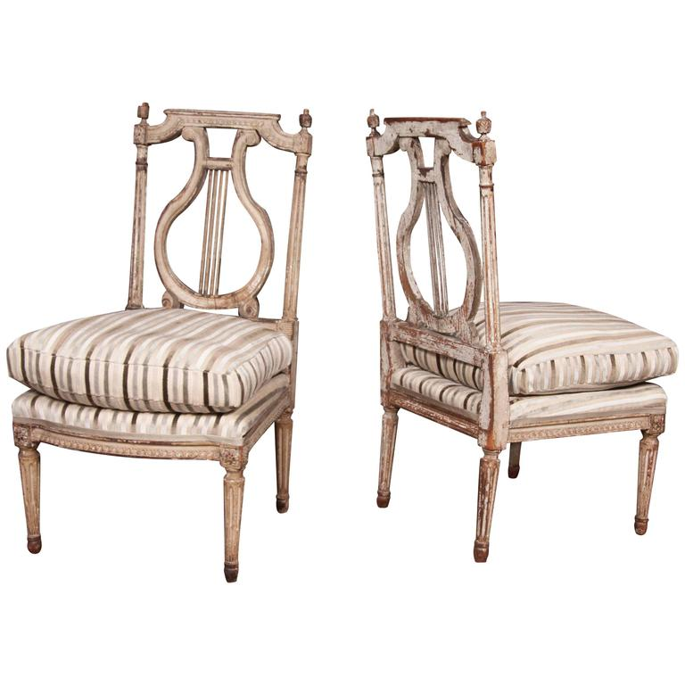 Pair of directoire painted chaises a la reine for sale at for Chaise directoire