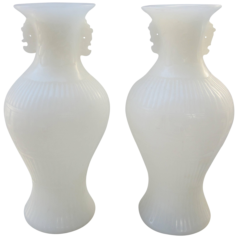 Pair of White Peking Glass Vases
