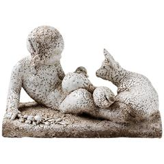 Rare Ary Bitter Sculpture Glazed by Jean Besnard