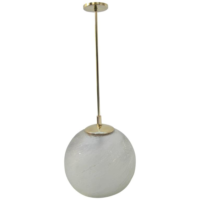 Italian Glass And Brass Pendant Light For Sale