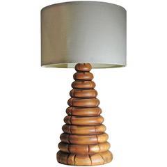 1970s Rustic Hickory Log Lamp