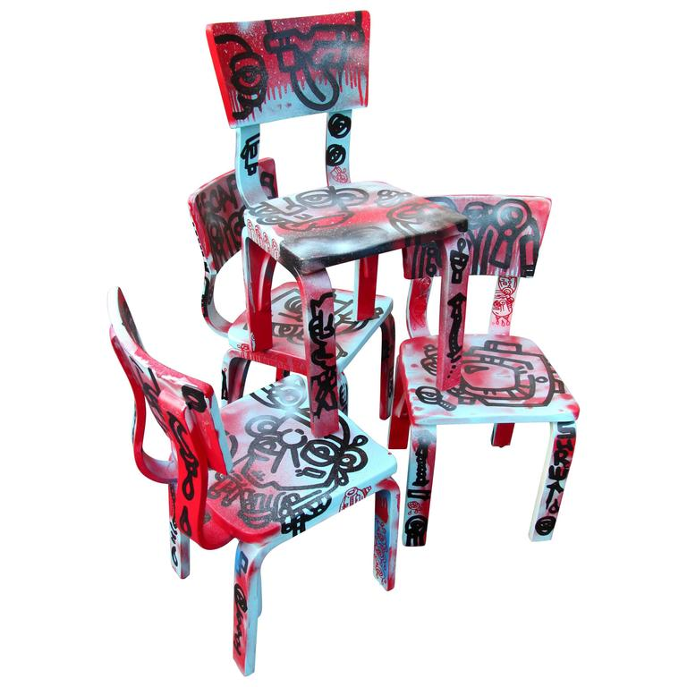 Set of Four Graffiti Painted Children's Thonet Chairs For Sale