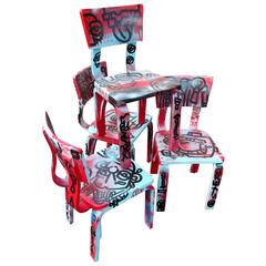 Set of Four Graffiti Painted Children's Thonet Chairs