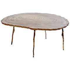Lean Coffee Table with Tree Rings in Cast Bronze, Etched Brass & Laminated Oak
