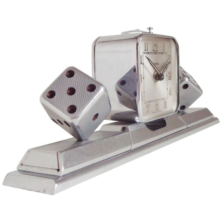 French Art Deco Chromed Bronze Alarm Clock & Integral Dice Paperweight Desk Set For Sale