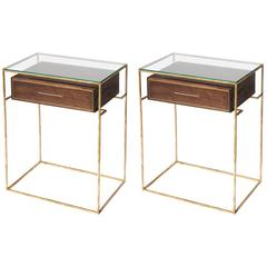 Pair of Floating Drawer Side Tables, Bedside Tables