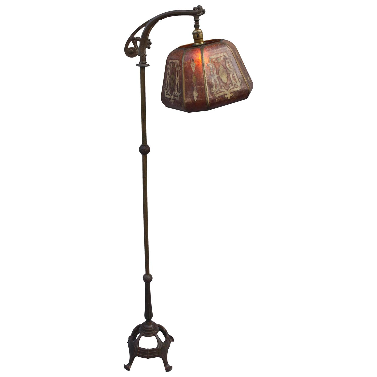 1920s bridge floor lamp with period mica shade at 1stdibs for 1920 s wood floor lamp