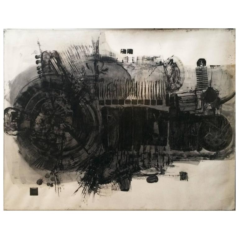 Jean-Pierre Vielfaure 1962 Mixed-Media on Heavyweight Paper Stretched on Frame For Sale