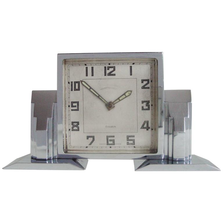High End Swiss Art Deco Chrome Plated Architectural Mechanical 8 Day Desk Clock For