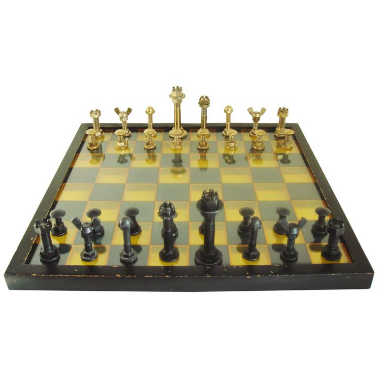 Large Mid Century Modern Industrial Chess Set With 3d