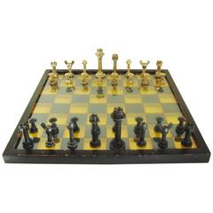 Large Mid-Century Modern Industrial Chess Set with 3D Polychrome Lucite Board
