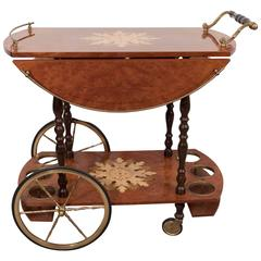 Mid-Century Italian Drop-Leaf Burl Wood Bar Cart with Floral Marquetry