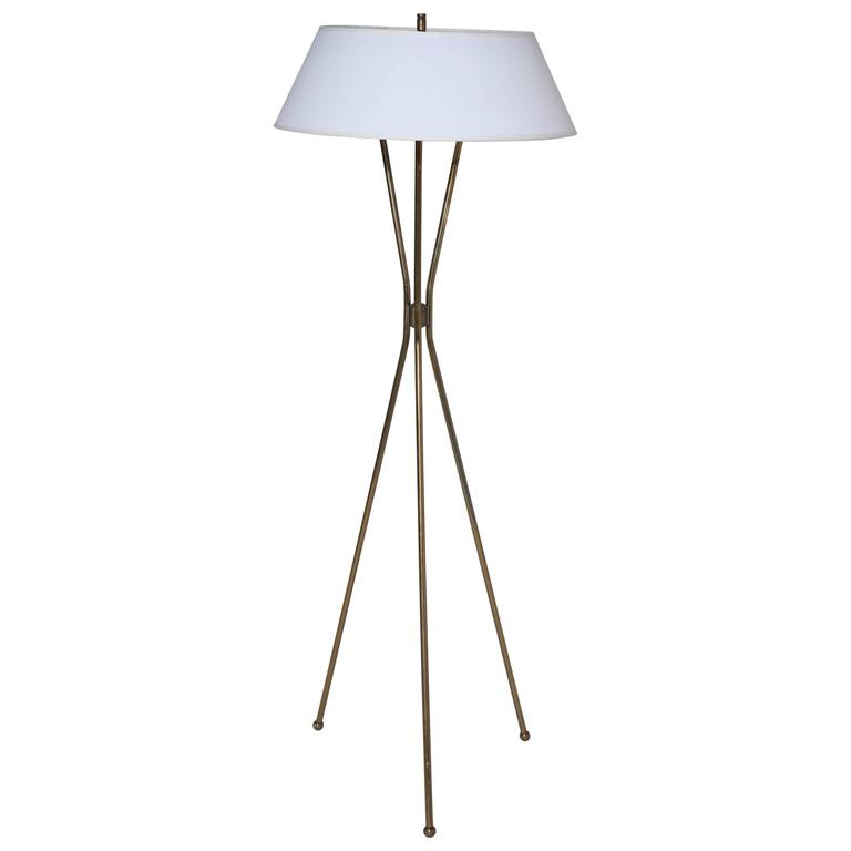 Gerald Thurston For Lightolier Brass Tripod Floor Lamp With Linen Shade,  1950s