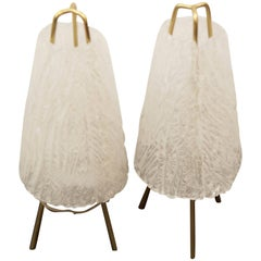 """Set of Two Ice Glass Table Lamps by """"Kalmar"""" Vienna"""