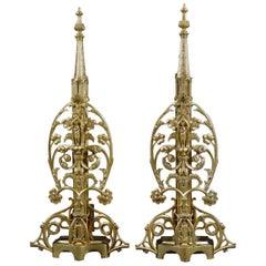 Pair of Tall and Elaborate French Gothic Revival Gilt Bronze Antique Andirons