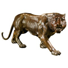 20th Century Bronze Model of a Prowling Tiger