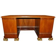 Swedish Art Deco Writing Desk with Gilded Lion Feet, by Carl Bergsten