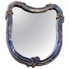 "Art Deco Blue Ceramik Wall Mirror by ""Gmundner Keramik"""