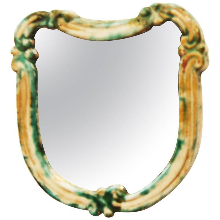 "Art Deco Green Ceramik Wall Mirror by ""Gmundner Keramik"""