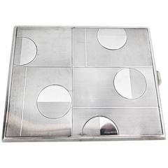 Art Deco Geometric Silver Cigarette Case, Austria