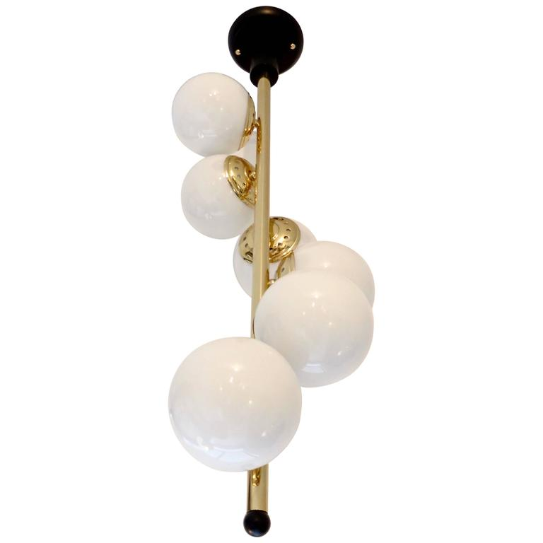 Italian Six-Light Brass and Glass Chandelier with Opaque White Globes, Stilnovo