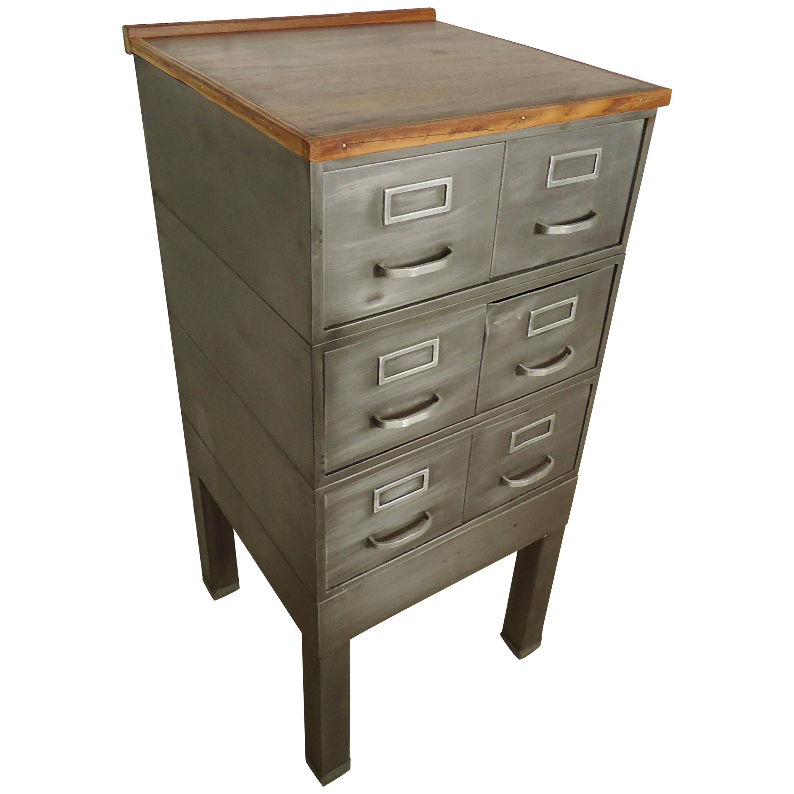 Petite Wood Top Industrial File Cabinet For Sale At 1stdibs