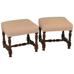 Pair of French Upholstered Stools