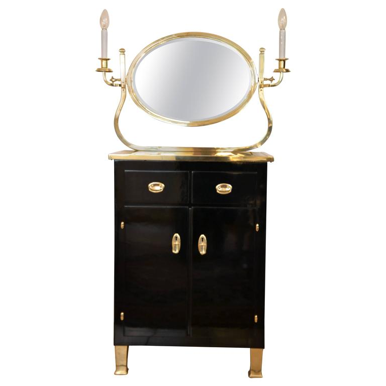 Mirrored Chest of Drawers Stained Black