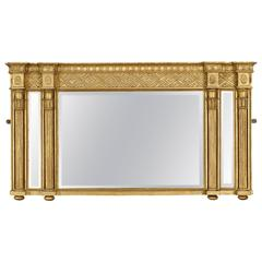 Regency Carved Giltwood Triptych Overmantel Mirror