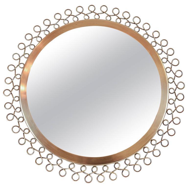 Brass Framed Mirror Attributed to Nordiska Kompaniet Studios, Sweden