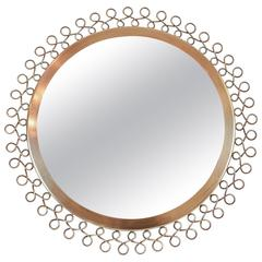 Brass Framed Mirror Attributed to Nordiska Kompaniet Studios, Sweden
