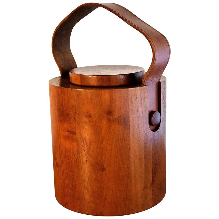 Big 1960s Teak Wood Ice Bucket by Jens H. Quistgaard