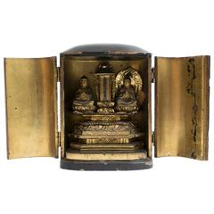 19th Century Japanese Gilt Travelling Shrine with Two Buddhas