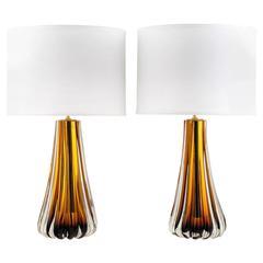 Murano Amber Glass Pair of Lamps