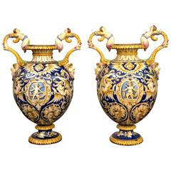 Pair of 19th Century Italian Majolica Baluster Form Urns