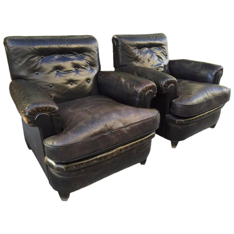Pair of 1930s English Leather Club Chairs